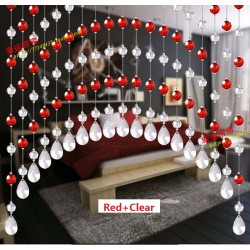 Custom Made Fashion Acrylic Crystal Bead Curtain-Red+Clear