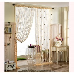 Hearts Lines Strings Curtains Drapes Decorations For Wall Or Door Or Window-White Colour