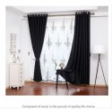 Black Double Layers Curtains with Floral patterns Custom Made Blackout+Sheer
