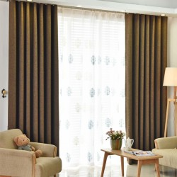 Dark Brown Custom Made Curtains Blackout+Sheer