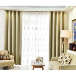 Creamy Colour Custom Made Curtains Blackout+Sheer