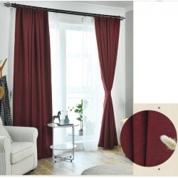 Burgundy Red Colour Custom Made Curtains Blackout+Sheer