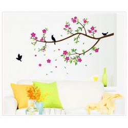 Removable Wall Sticker-Tree Branches Flowers with Birds