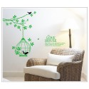 Removable Wall Sticker-Tree Branches with Bird Cage(the love house)