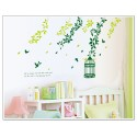 Removable Wall Sticker-Green Tree Branches with Bird Cage