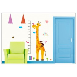 Removable Wall Sticker-Giraffe Monkey with Kid Height Chart