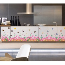 Removable Wall Sticker-Flowers Fence with Butterflies(Only Purple is in stock)