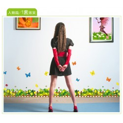 Removable Wall Sticker-Green Yellow Flowers Fence with Butterflies