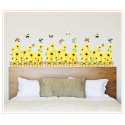 Removable Wall Sticker-Flowers Fence (Yellow or Pink)