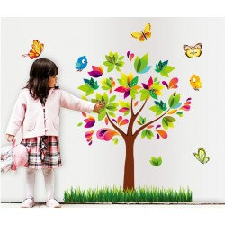 Removable Wall Sticker-Colourful Tree with Butterflies