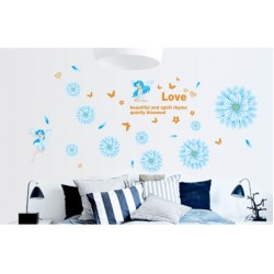 Removable Wall Sticker-Beautiful Angels With Blue Flowers