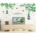 Removable Wall Sticker-Green Tree Branches With Bird Cages