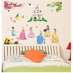 Removable Wall Sticker-Princesses Garden With Castle
