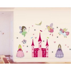 Removable Wall Sticker-Angels Princesses With Castle