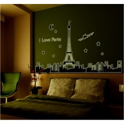 Glow In The Dark I Love Paris Wall Stickers