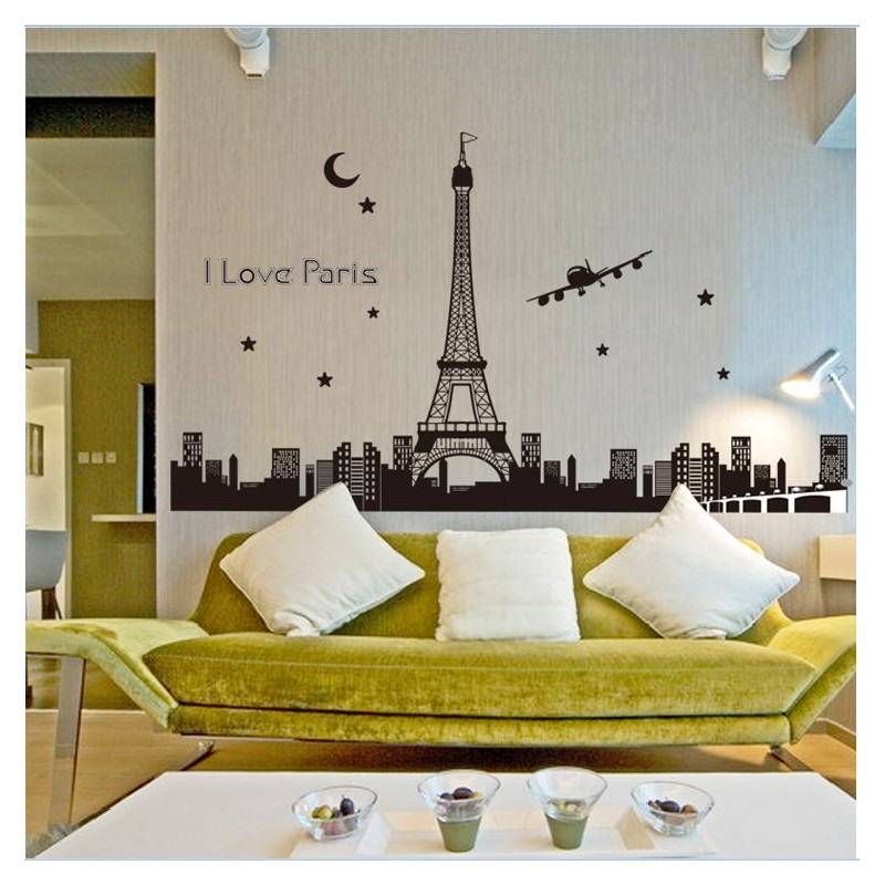 glow in the dark i love paris wall stickers - house decorations