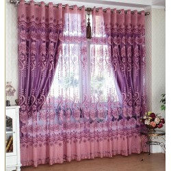 Mahogany Classical Double Layers Curtains With Jacquard Weaves Design Custom Made