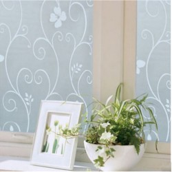 PVC Privacy Frosted Glass Panel Tint Window Floral Flower Film
