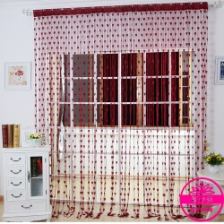 Hearts Lines Strings Curtains Drapes Decorations For Wall Or Door Or Window-burgundy Colour