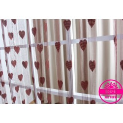 Hearts Lines Strings Curtains Drapes Decorations For Wall Or Door Or Window-coffee Colour
