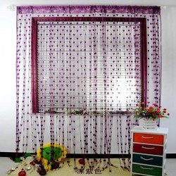 Hearts Lines Strings Curtains Drapes Decorations For Wall Or Door Or Window-Dark Purple  Colour