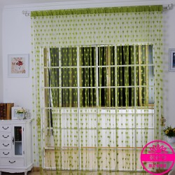 Hearts Lines Strings Curtains Drapes Decorations For Wall Or Door Or Window-Green Colour