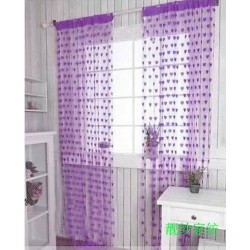 Hearts Lines Strings Curtains Drapes Decorations For Wall Or Door Or Window-Light Purple Colour