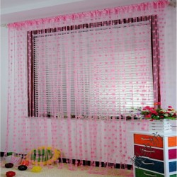 Hearts Lines Strings Curtains Drapes Decorations For Wall Or Door Or Window-Pink Colour