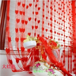 Hearts Lines Strings Curtains Drapes Decorations For Wall Or Door Or Window-Red Colour