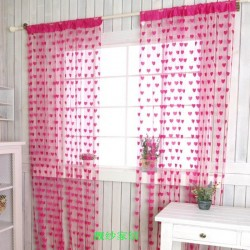Hearts Lines Strings Curtains Drapes Decorations For Wall Or Door Or Window-Rose Pink Colour