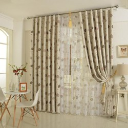 Modern Double Layers Curtains Custom Made Blackout+Sheer