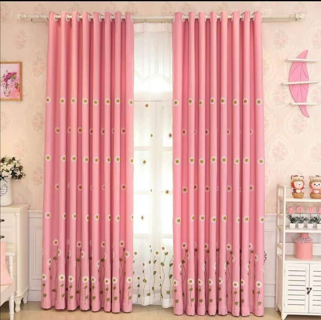 Daisy Flowers design Girls's room double layers curtains package blackout curtain with sheer